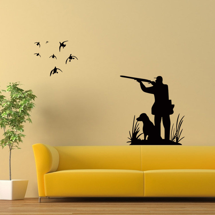 aliexpresscom buy 1pc 5862cm hunter and dog home wall decal birds hunting gun mural art wall sticker living room bedroom home decoration s3 from - Hunting Bedroom Decor