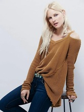 2016 autumn winters V neck off shoulder knitted loose sweater women  Fashion tricot pullover jumpers Pull femme oversized capes