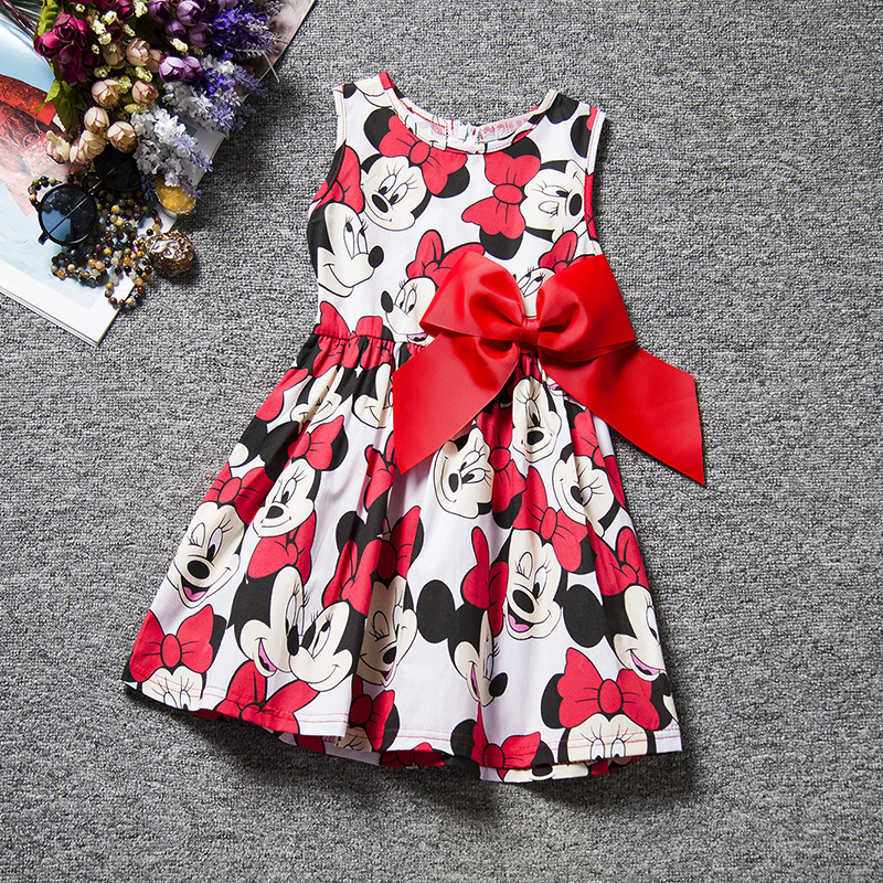 Baby Girls Mickey Dresses Summer Kids Girl Minnie Mouse -3719