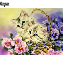 5D DIY Diamond painting cute kittens in basket Full square/Round Diamond embroidery cats Cross Stitch Rhinestone Mosaic decor(China)