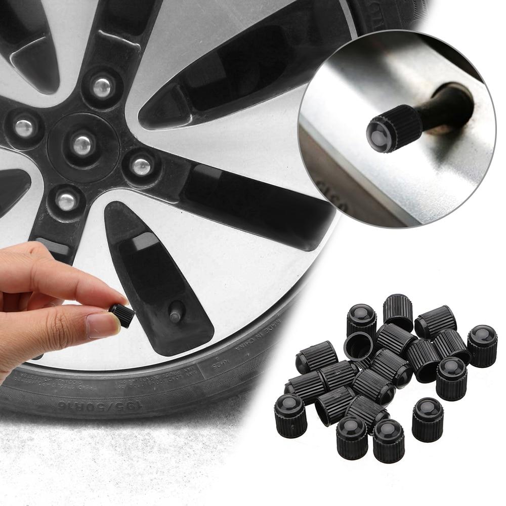100pcs Spare Black Plastic Motorcyle Bicycle Car Tyre Tire Valve Dust Cap Cover