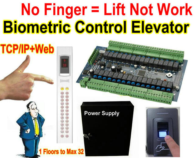 US $459 63 |No Fingerprint= Can not use Lift, Elevator Web TCP  Controllerwith Fingerprint reader to control and PC software manage 32  floors-in Access