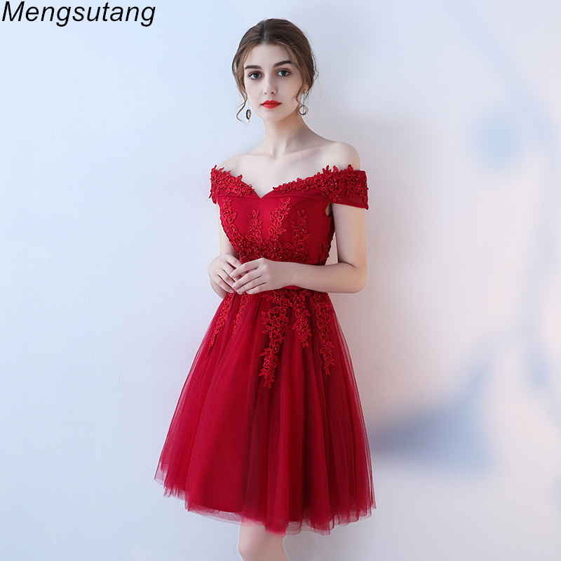 Robe de soiree Lace Up Off The Shoulder Short   Evening     Dresses   Elegant Lace With Beading Bow Banquet Formal Party Prom   Dress