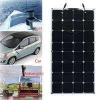 12V 100W Solar Panel Monocrystalline Semi Flexible Solar Panels Cell Plate Module Kit Efficiency Charger for RV Boat Battery
