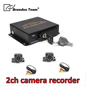 2CH motion detection vehicle bus truck taxi mobile car DVR recorder kit