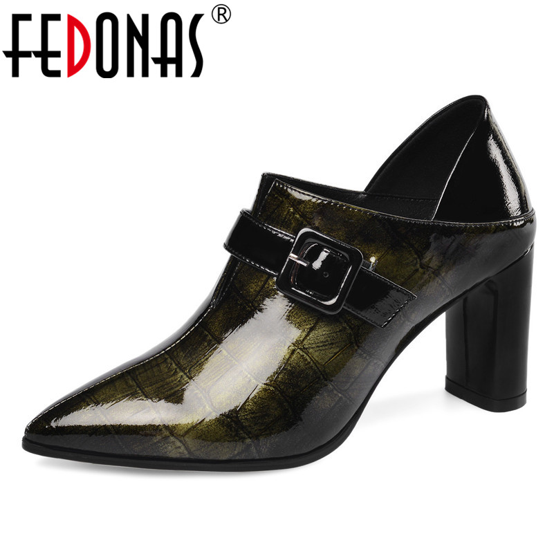 FEDONAS New Women Pumps Spring Autumn Elegant Pointed Toe Party Shoes Woman 2020 High Heels Buckle Genuine Leather Women's Shoes
