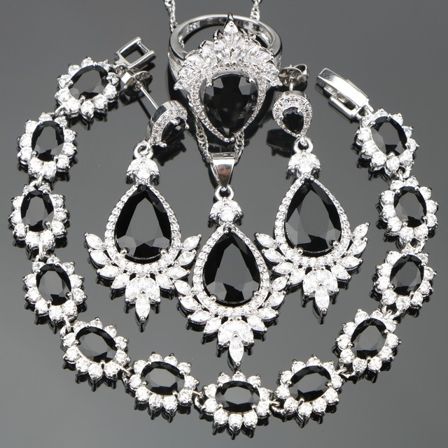 Christmas Black Cz Costume Women Silver 925 Jewelry Sets Bridal Earrings Rings Pendant