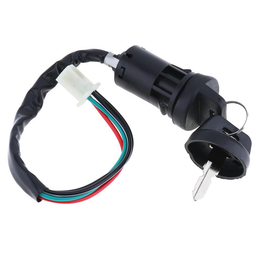 4 Wires 2 Ignition Keys Start Plastic Switch Door Lock Key Motorcycle Accessories for ATV Go Kart Scrambling Motorcycle