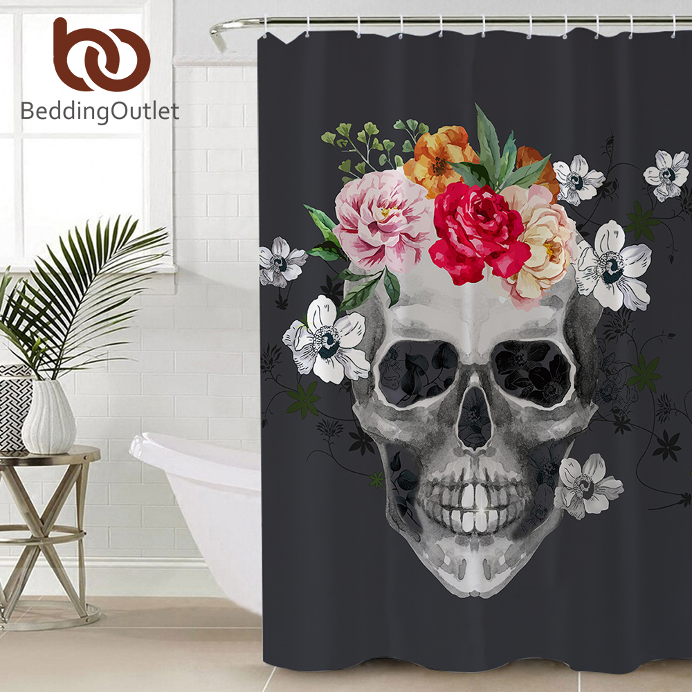 72 colorful gothic flower skull fabric