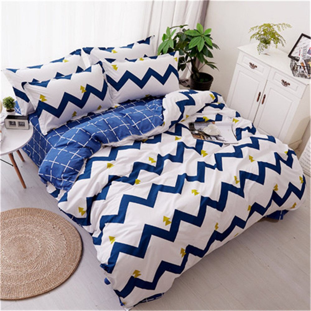Simple Blue White Stripes Luxury Bedding Set twin Full Queen Size Duvet Cover Bed Sheet Pillowcases boy Bed Linen Bedclothes