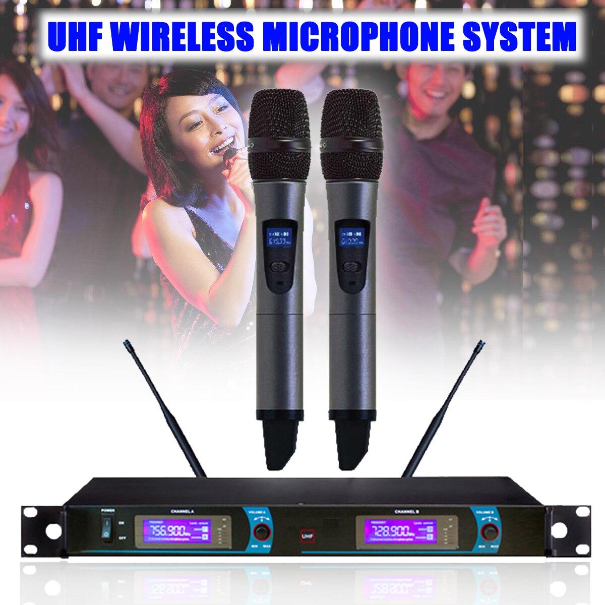 LCD Display UHF Wireless Dual Studio Microphone Mic System Home KTV Karaoke DJ Wireless Microphone Profesional for Computer стоимость