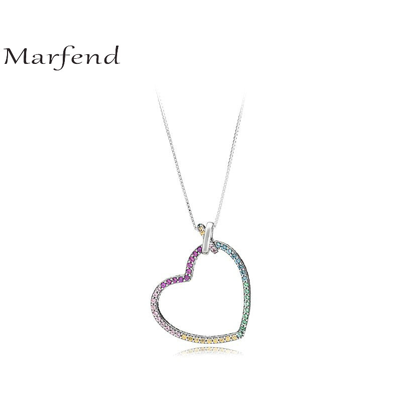 Marfend 2018 New 60cm 100% 925 Sterling Silver Rainbow CZ Love Heart Pendant Necklace For women wedding Original Jewelry Gift ayowei heart shaped 925 sterling silver rainbow zircon pendant necklace wedding gift sp75a