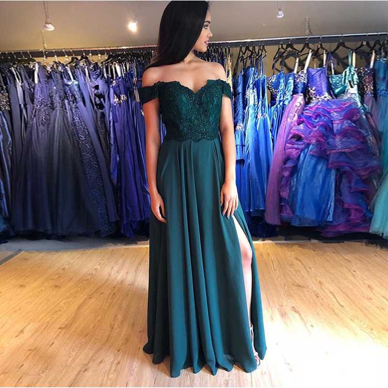 Dark Green Off The Shoulder Sexy Chiffon   Prom     Dresses   Appliques Beaded Women Formal Party   Dresses   Front Split Long   Prom   Gowns