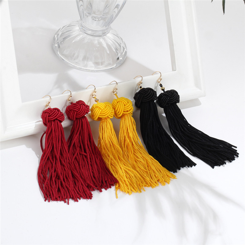 Crazy-Feng-Handmade-Tassel-Earrings-2018-Trendy-Black-Red-Yellow-Green-Long-Dangles-Ear-Broncos-Silk (1)