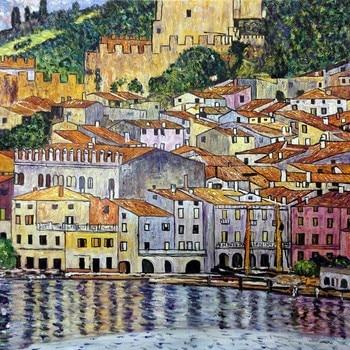 Landscape Art Painting Reproductions Gustav Klimt Painting Malcesine on Lake Garda,1913 Oil Paintings for Living Room Wall Decor