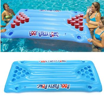 Inflatable Beer Pong Ball Table Water Floating Raft Lounge Pool Drinking Game