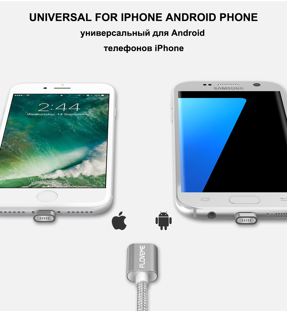 Magnetic USB Cable Upgraded 1 Line 2 USB For iPhone 7 6 6S Plus 5 5S SE Cables Micro USB  (2)