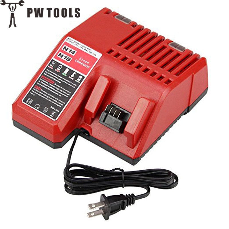 PW TOOLS High Quality Battery Charger for 14.4V-18V Multi Voltage Li-Ion Battery Fast Replacement Electric Tools Battery Charger replacement li ion battery charger power tools lithium ion battery charger for milwaukee m12 m18 electric screwdriver ac110 230v