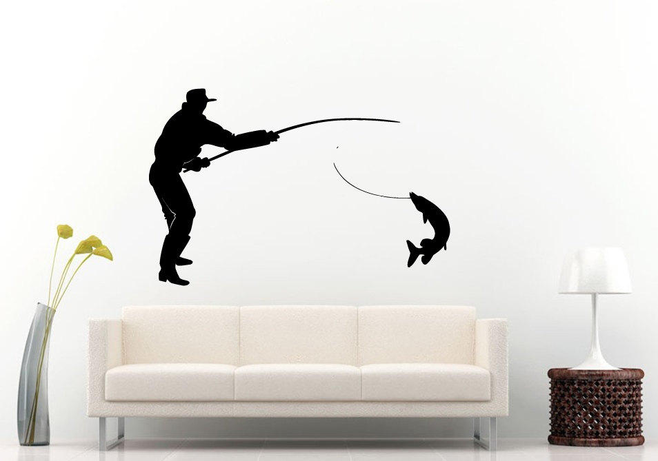 Fisherman catching a huge fish silhouette vinyl wall for Fisherman home decor