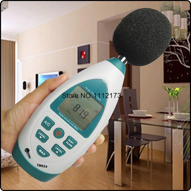 ФОТО TM824 Mini hand-held Digital LCD display sound level Noise meter 30-130dB high-precision decibel db Monitor Pressure Tester