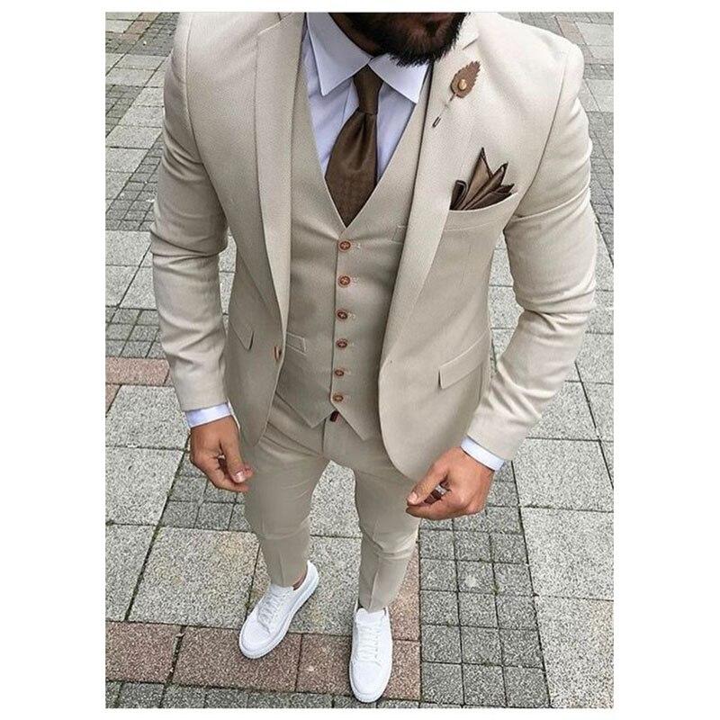 2019 Latest Coat Pant Designs Beige Men Suit Prom Tuxedo Slim Fit 3 Pieces Groom Style mens Suits Custom Blazer Terno Masuclino