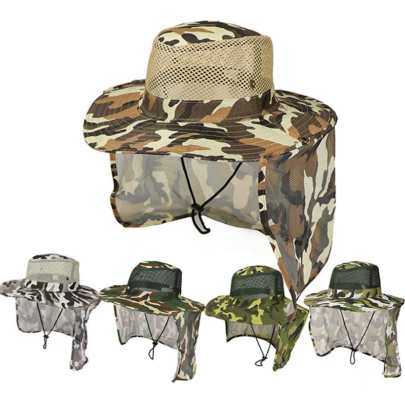 Camouflage Fishing Hiking Outdoor Face Sun Protection Neck Cover Wide Brim Cap Military Hunting Hat