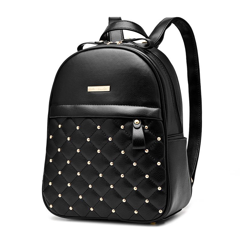 New Fashion Leather Women Backpack High Quality Female Ladies Student Bag Girl Rivet Brand Casual School Computer Package