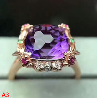 KJJEAXCMY Fine jewelry 925 sterling silver inlaid with Amethyst Ring