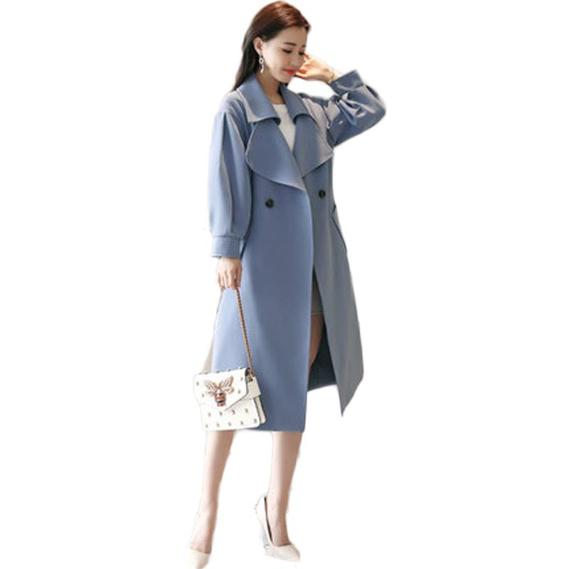 2019 Spring  Autumn New British Style Women's Double Breasted Trench Coat Female Long Turn-Down Collar Outerwears Clothing X52