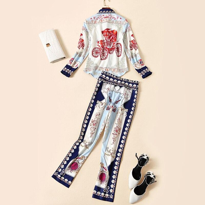 Rétro Et 2018 Pièces Gamme De Diamant Américain Pantalon Nouvel Chemise Imprimer Ensemble Multi L'automne Perle Début Européen Femmes Mode Costumes Deux Haut r0wH7vrq