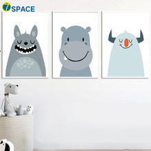 Totoro Hippo Monster Posters And Prints Wall Art Canvas Painting Nordic Poster Wall Pictures For Kids Room Nursery Prints Decor(China)