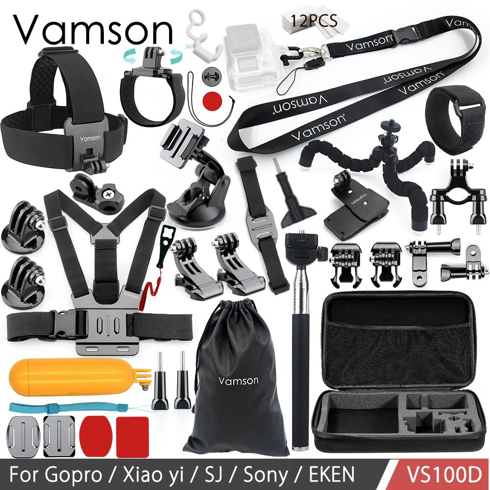 Vamson for Gopro hero 6 5 4 Accessories Set kit for SJCAM M10 for Xiaomi yi 4k for SJ5000 case EKEN SOOCOO Action Camera VS100 for gopro 6 hero5 4 3 outdoor action camera accessories for sj4000 sj5000 sj5000x sj6 legend sjcam m20 4k m10 wifi xiao mi yi 4k