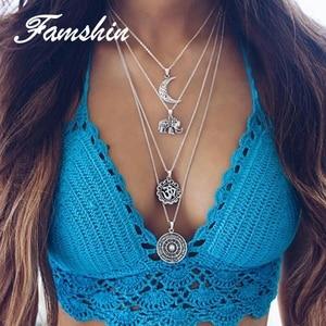 FAMSHIN модное многослойное ожерелье с Луной, 4 слоя, ювелирное изделие для женщин, богемное колье с слоном, цепочка, ювелирные изделия, свадебны...