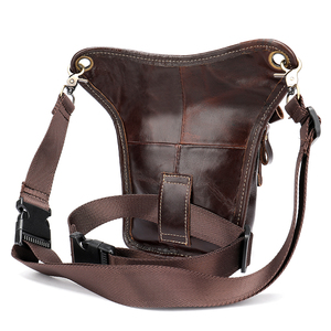 Image 3 - MVA Leather Funny Waist Packs Drop Leg Bags Belt Pouch Mens Motorcycle Leg Bag Genuine Leather Phone Pouch Male Hip Packet 3237