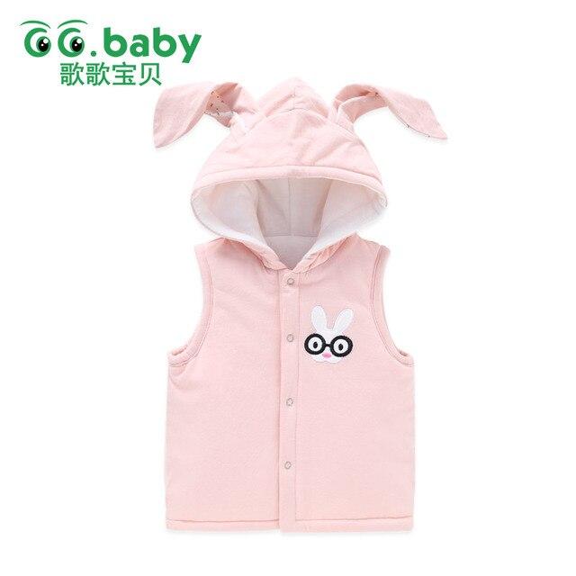 0932b84b60d5 Cute Baby Girls Waistcoat Autumn Winter Cotton Hooded Bunny Ears ...