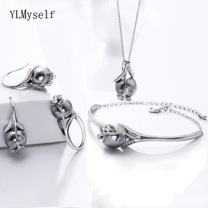 Image 1 - Best gift for mom Hot Nice Suspension Pendant Bracelet earrings ring Grey pearl Fashion leaf statement jewelry set
