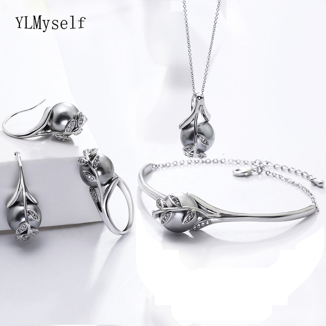 Best gift for mom Hot Nice Suspension Pendant Bracelet earrings ring Grey pearl Fashion leaf statement jewelry set