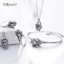 Beste Cadeau Voor Moeder Hot Mooi Schorsing Hanger Armband Oorbellen Ring Grey Pearl Fashion Leaf Verklaring Sieraden Set