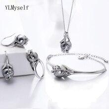 Conjunto de joyería con colgante para mujer, set de joyería con colgante, anillo, Perla gris, hoja de moda, bonito regalo para mamá