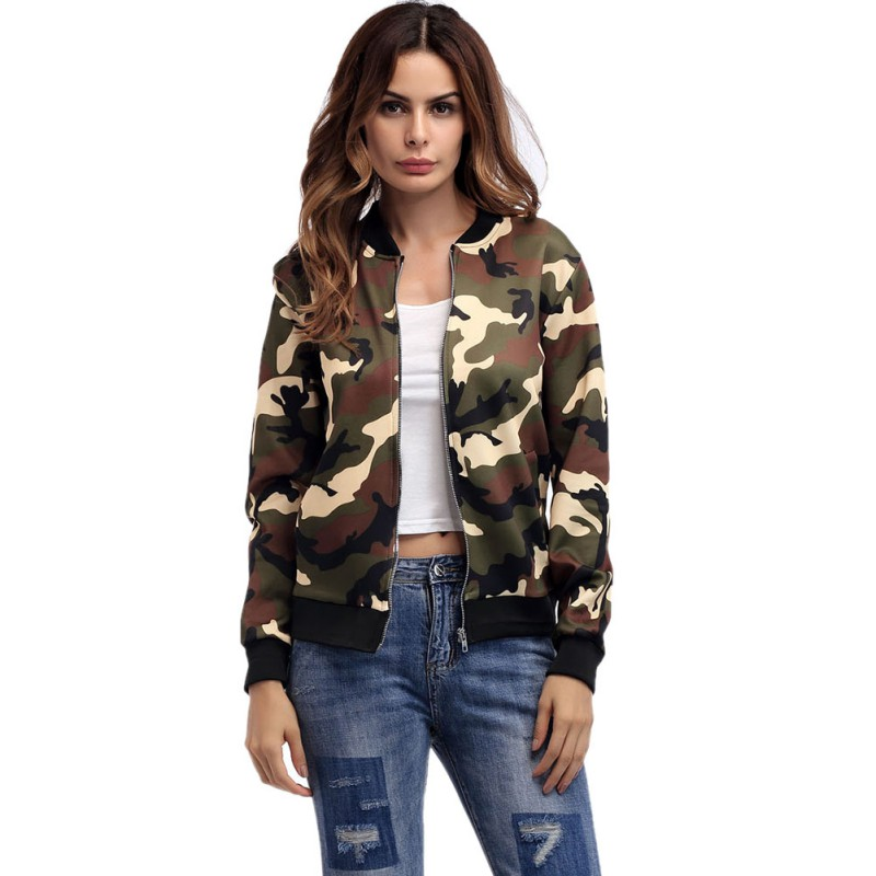 2018 Women Camouflage   Jackets   Coats Casual   Basic     Jacket   Long Sleeve Fashion Stand Collar Coat