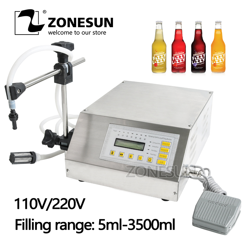 ZONESUN Hot Selling Pump Liquid Filling Machine Semi-automatic Oil Juice Beverage Mineral Water Small Bottle Filler цена