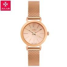 Nova marca Top Julius mulheres relógio de vestido de luxo de aço completo relógios de mesa Feminino de moda Senhoras casuais relógio de quartzo Rosa de ouro relógio