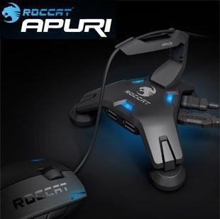 Roccat Apuri Hub USB Activo con el Amortiguador Auxiliar Del Ratón, Ratón soporte del cable, clip de cable del ratón, a Estrenar En Caja y Original, shiping libre