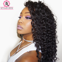 Rosa Queen 360 Lace Frontal Wigs 180% Density Deep Wave Brazilian Remy Hair Natural Black Color 100% Human Hair
