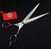 8.0 inch Professional Pet Grooming Scissors Purple Dragon Large Dog Hair Cutting Straight Scissors Cat Rabbit Hair Remover + Bag