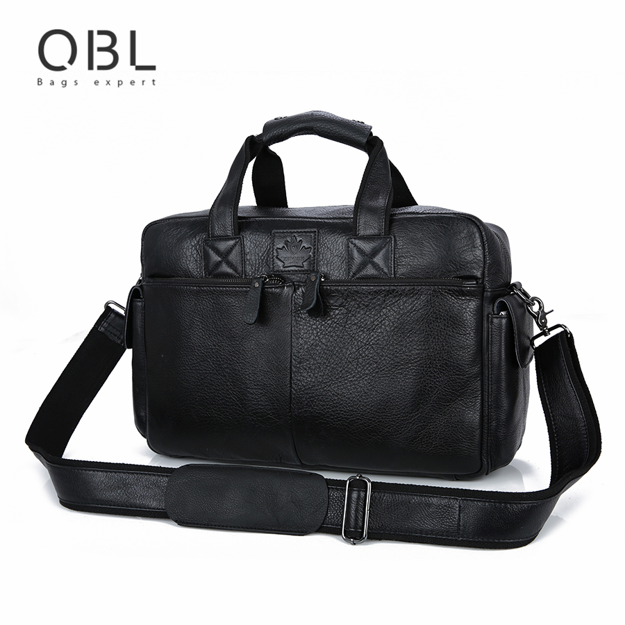 QiBoLu 2017 Cow Genuine Leather Handbags Men Crossbody Shoulder Laptop Tote Bag Sacoche Homme Bolso Hombre Bolsa Masculina MBA63 qibolu vintage large capacity handbags men shoulder tote bag for travel business sacoche homme bolso hombre bolsa masculina 6002