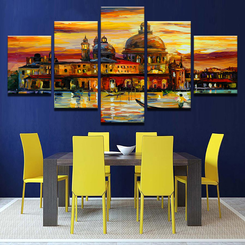 Canvas Pictures Home Decor Wall Art 5 Pieces Aquatic City Landscape ...