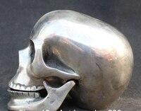 Украшения из латуни торговое предприятие при фабрике Тибет Серебряный 14 см китайский Серебряный человеческого черепа скелеты глава death'shead