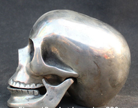 Decoration Bronze Factory Outlets Tibet Silver 14cm Chinese Silver Human Skull Skeletons Head Death Shead Collected