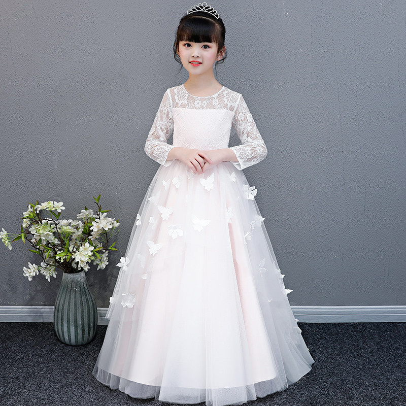 2018Autumn Winter Children Girls Long Sleeves Birthday Wedding Party Long Princess Lace Dress Baby Kids Host Piano Costume Dress baby girl red children s dress princess dress long sleeve birthday flower girl dress girl piano host costume long winter